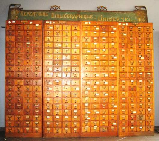 A section of the Mundaneum—Otlet's Universal Bibliography Repository based on the catalogue-card index format.